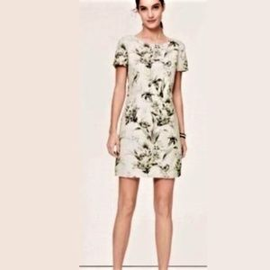 Loft Gray Floral Bird Print Linen Shift Dress 12T